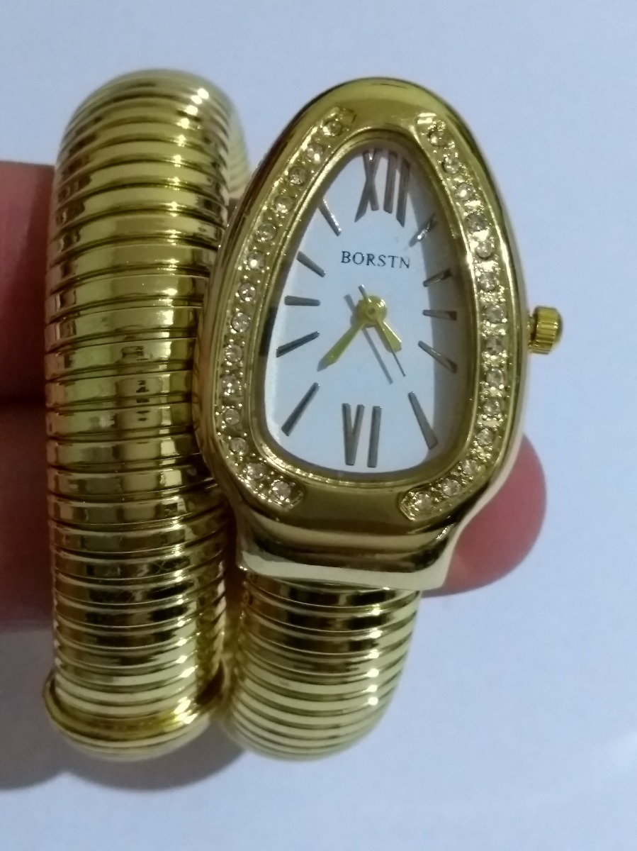 05dfcd025e9 Carregando zoom... relógio pulso feminino serpente cobra branco dourado  borstn