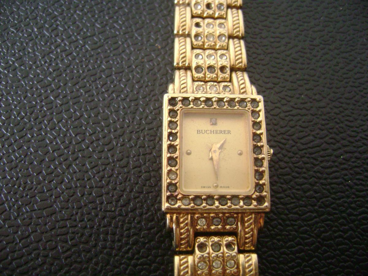 9c22f504f6a Carregando zoom... relógio de pulso feminino em plaquê de ouro bucherer  swiss