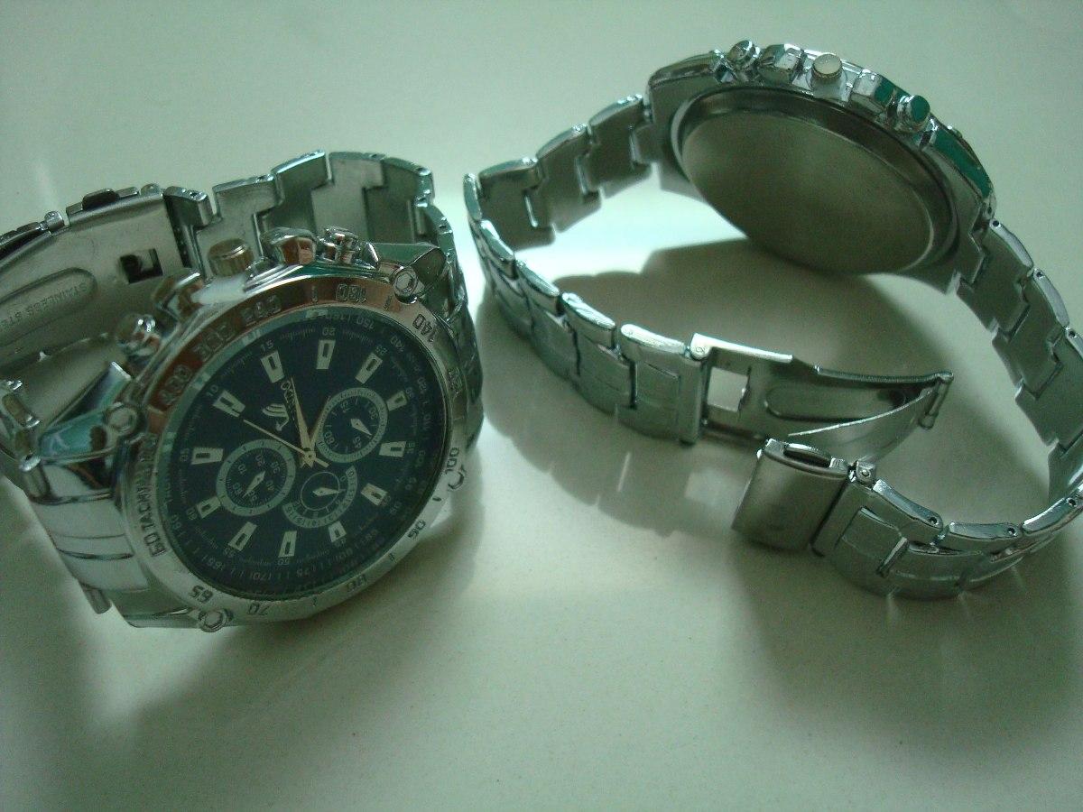 5b54d058019b1 Relógio De Pulso Masculino Prata Com Fundo Azul Ou Preto - R  210,00 ...