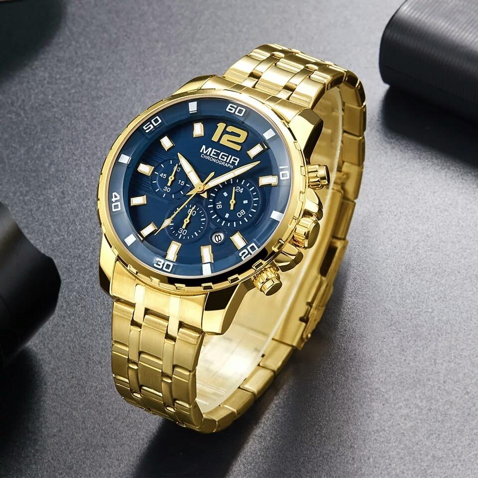 65e23b6addc Relógio De Pulso Masculino Original Megir Dourado Fundo Azul - R ...