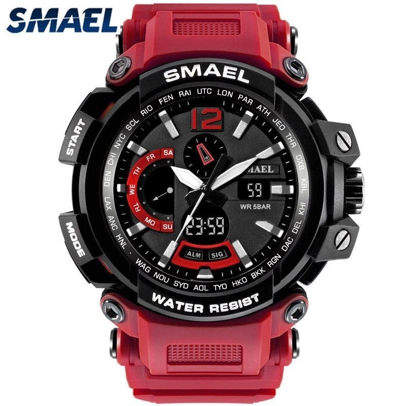 c0de6307cd2 Relógio Pulso Masculino Smael 1702 Militar Vermelho Original - R  102