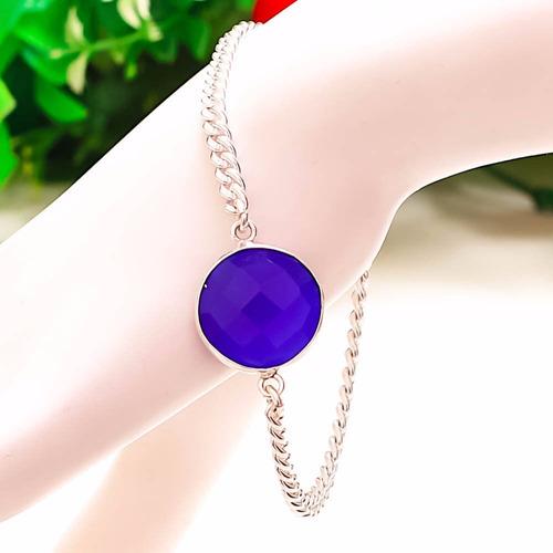 pulso plata 925  piedra zafiro azul facetado creado