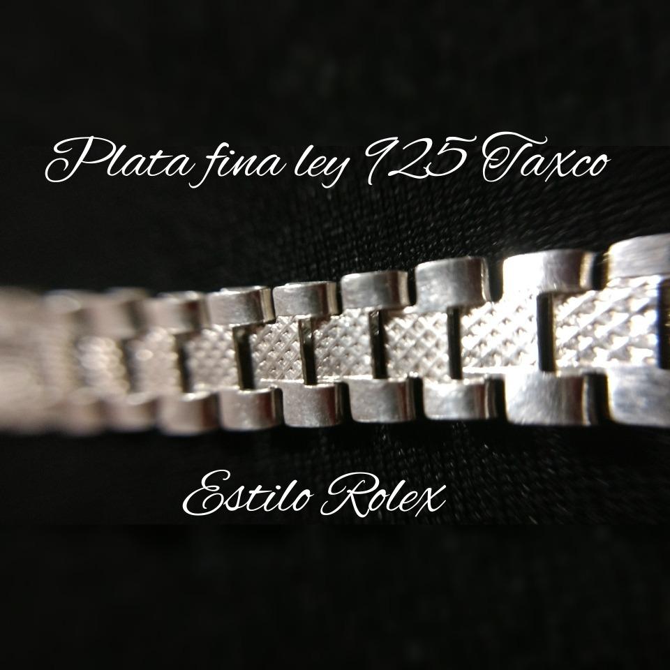4e329b2fc853 Pulso Pulsera De Plata Fina Ley 925 Caballero Rolex Hombre ...