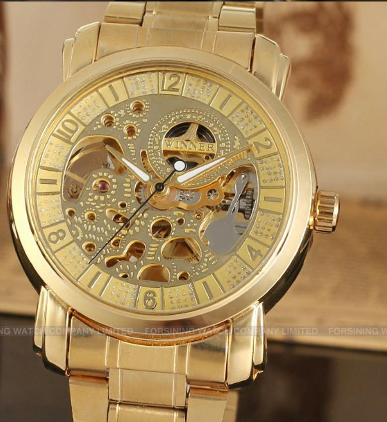 b9462e9fbbf Carregando zoom... relógio pulso winner esqueleto automático banhado a ouro