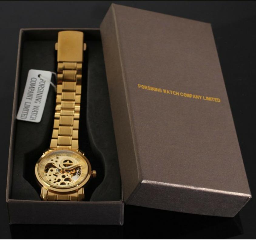 a8c4edb2e22 Relógio Pulso Winner Esqueleto Automático Banhado A Ouro - R  199