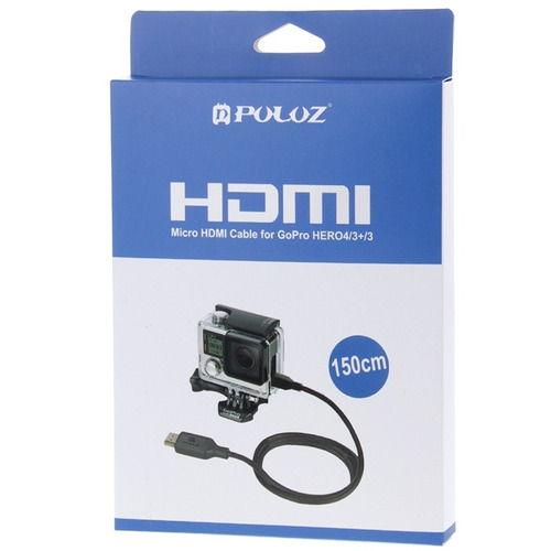 puluz video hdmi 19 espiga 5 micro cable pin para gopro
