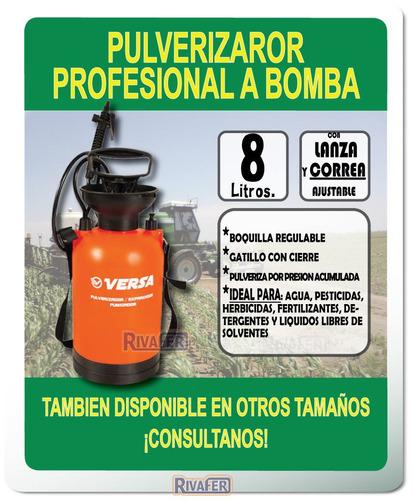 pulverizador fumigador de 8 lts bomba presión mochila lanza