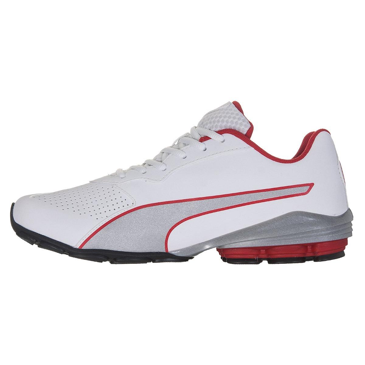 Carregando zoom... tênis puma flume sl masculino - branco vermelho 5b37fbb352f84