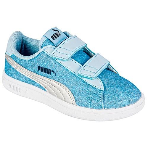 38f3b3348f3 Puma Smash V2 Glitz Glam V Inf 367380-01 Azul- Plata Niña Pv