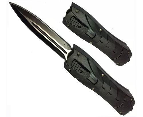 puñal cuchillo navaja automatica retractil  horizontal 21 cm
