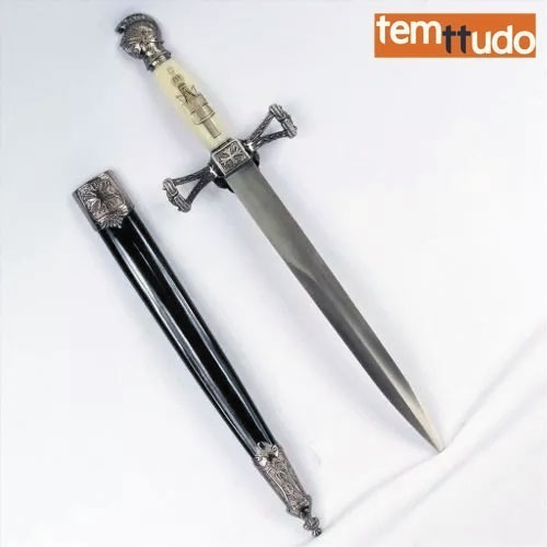 punhal cavalaria cruzada medieval- adaga- espada branco -nfe