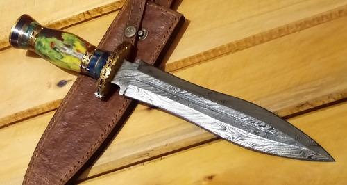 punhal medieval afiado - aço damasco - 416 camadas paquistão