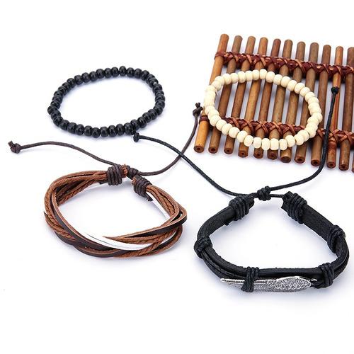 punk masculino multilayer pulseiras couro vintage trançado a