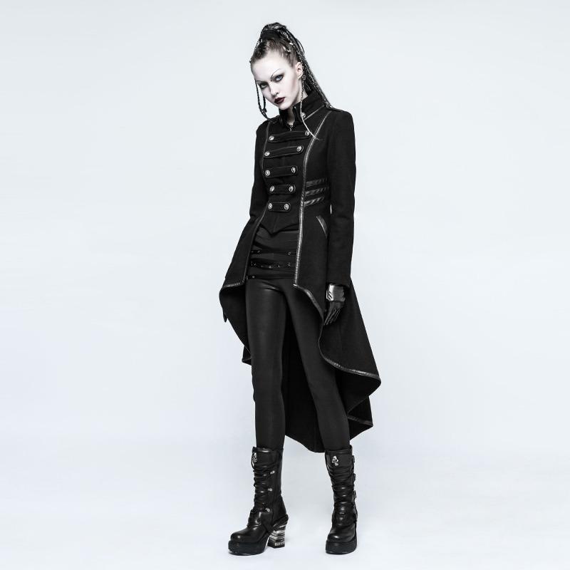 Saco Mujer Rock Rave Cosplay Negro Abrigo Gótico Punk Largo 0H5xfR5