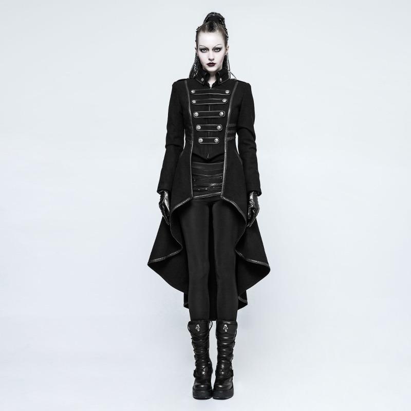 Mujer Saco Abrigo Negro Rave Rock Cosplay Fwxqbsa Largo Punk Gótico ggrwd5xZ