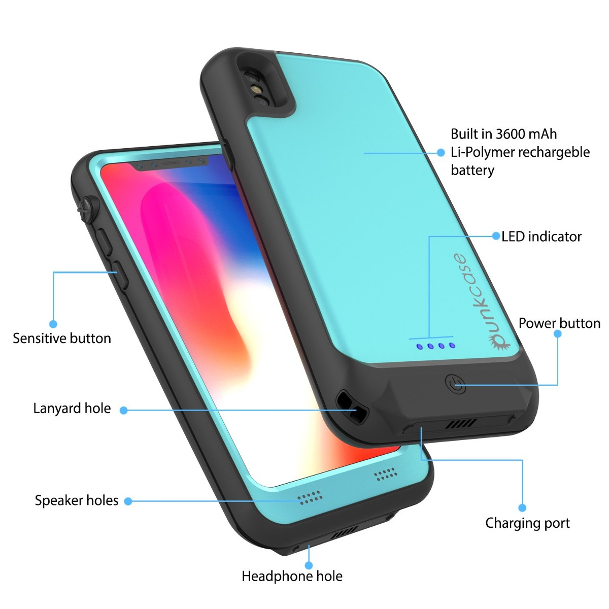 the latest 7884b 3883c Punkjuice iPhone X Batería Caso , Impermeable Ip68 Certific