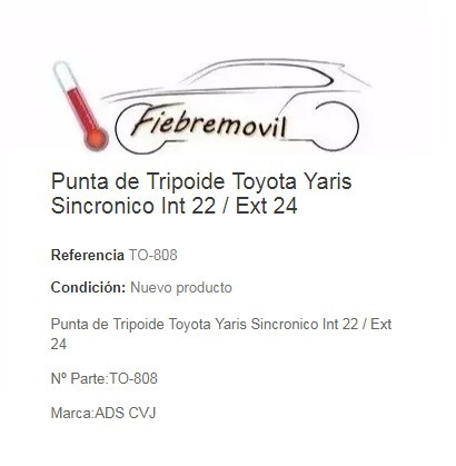 punta de tripoide toyota yaris sincronico int 22 / ext 24