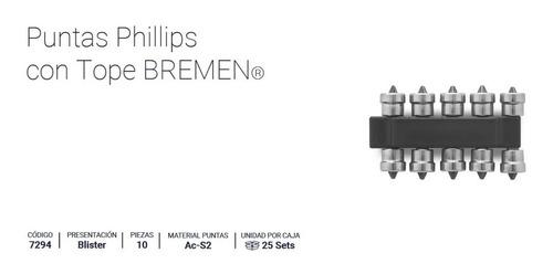 puntas atornillador durlock phillips ph2 con tope bremen x 10 unidad cod. 7294 dgm