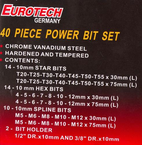 puntas torx x 40 piezas eurotech
