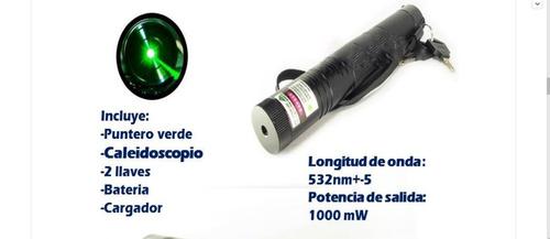 puntero laser verde 1000mw caleidoscopio ,bateria y llaves