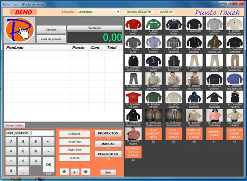 punto touch software - sus ventas al toque. kioscos ropa etc
