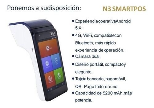 puntos de ventas smartpos n3. nivel nacional, confiable