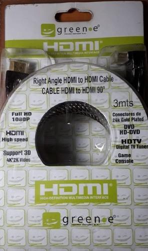 puntotecno - cable hdmi alta calidad una punta en 90° 3 mts