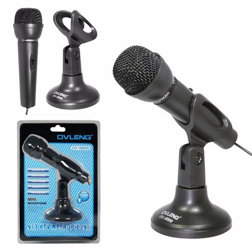 puntotecno - microfono ovleng con base y jack 3,5 mm
