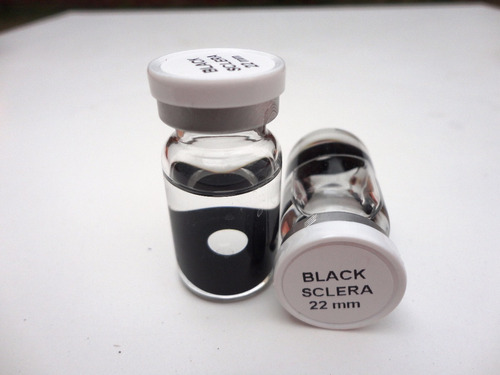 pupilentes sclera 22mm ojo negro halloween + agujetas led.