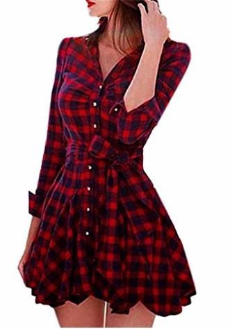 pura ganga: vestido a cuadros de franela marino-rojo