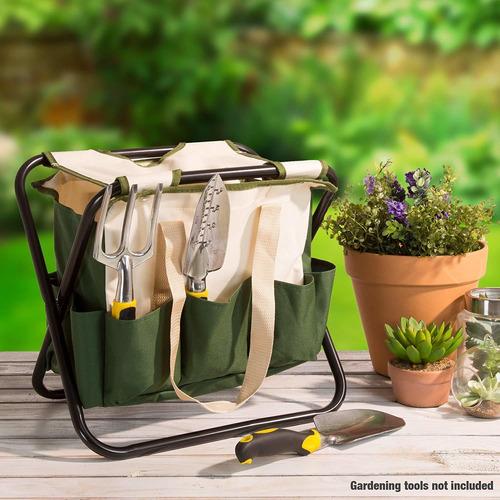 pura jardín jardín plegable taburete con bolsa de herramie