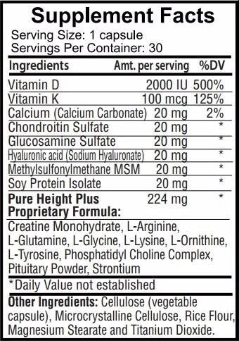 pureheight plus height enhancement vitamins 30 caps