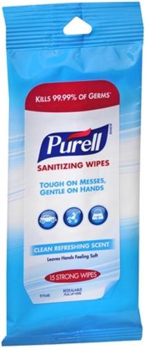 purell desinfección de manos, toallitas, 15 ct