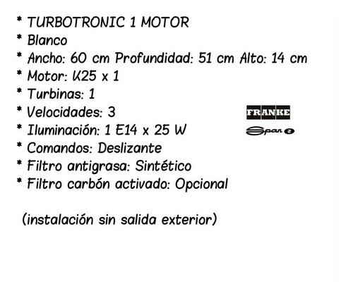purificador cocina extractor 60cm blanco turbotr spar gtia oficial cuotas!!