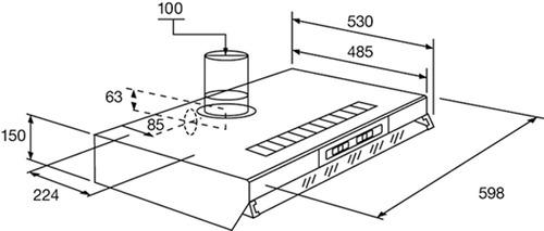 purificador extractor de aire spar 60cm con y sin salida