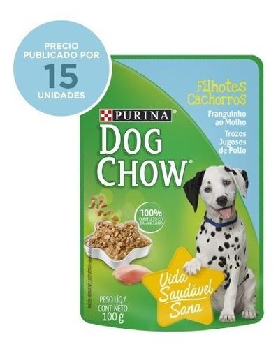 purina® dog chow® cachorros sabor pollo 15x100g