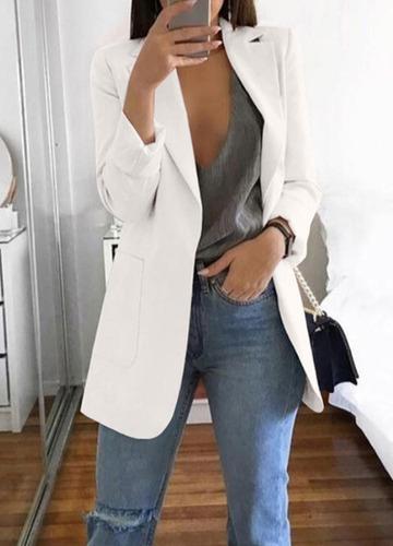 puro color solapa bolsillos manga larga cardigan slim blazer