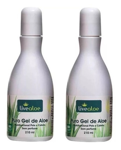 puro gel de aloe vera - kit com 2 unidades - live aloe