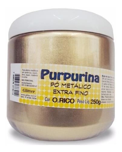 purpurina em pó ouro rico 250grs *frete+barato*