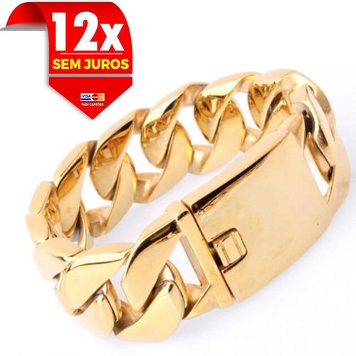 purseira com 24 mm e 23 cm grossa banhado de ouro exclusiva