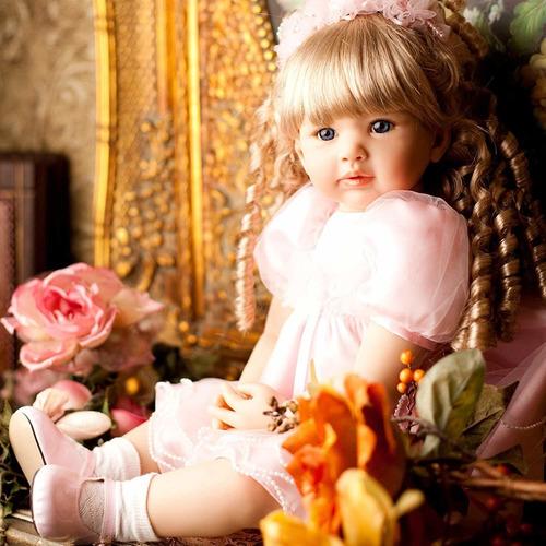 pursuebaby muñeca de princesa reborn con pelo rubio riz