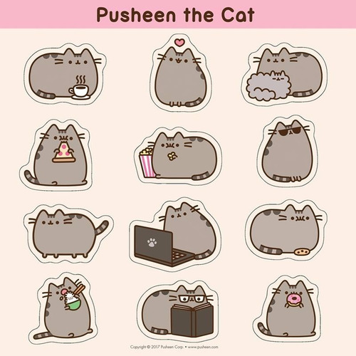 pusheen the cat calendario de pared 2018 con stickers gatita