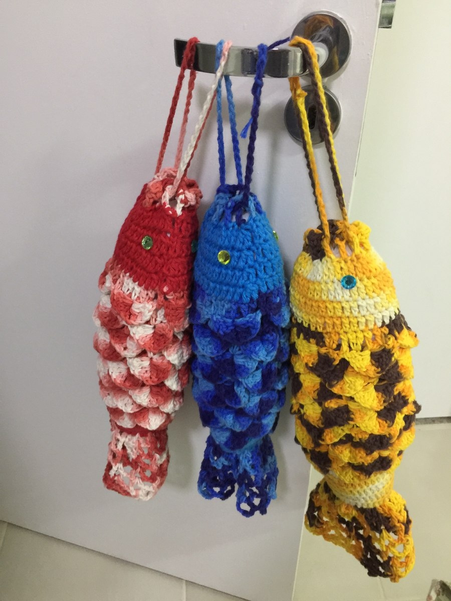 Puxa Saco Peixe Em Croche R 39 90 Em Mercado Livre
