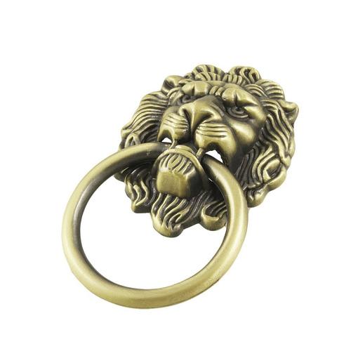 puxador cor bronze estilo aldrava cabeça leão 6 unidades