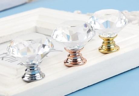 puxador cristal vidro lapidado com 4 unidades