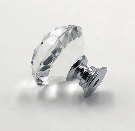 puxador cristal vidro lapidado cromado 30mm 05 peças