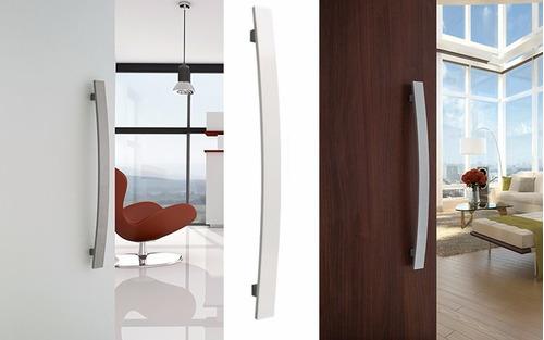 puxador curvo 40cm portas madeira + fechadura rolete