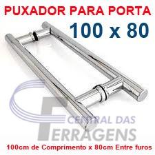 puxador de aluminio p/ porta de madeira 100cm x 80cm tubular
