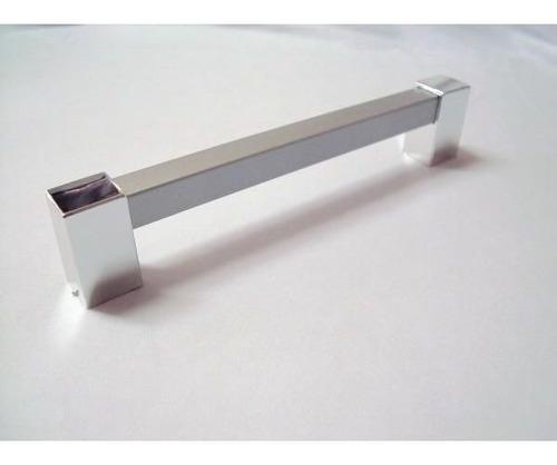 puxador de armário btr cinza / cromado - kit 3 unid. 160 mm