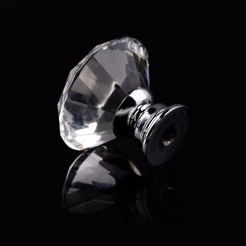 puxador de cristal 30 mm para gavetas e móveis com parafuso